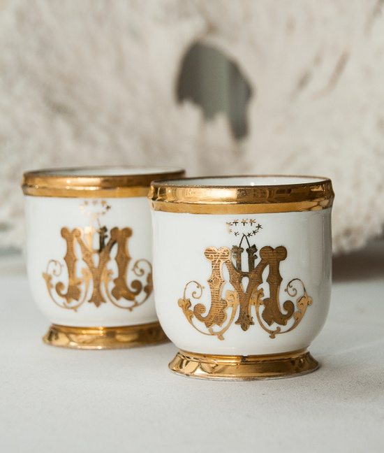 monogram tea cups