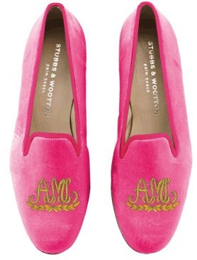 Stubbs & Wootton pink monogram slippers