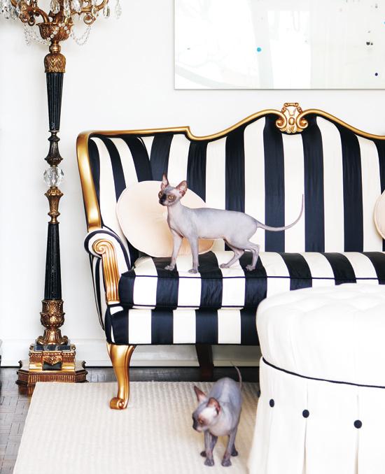 black/white striped settee