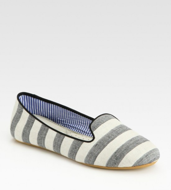 grey/white stripe slipper