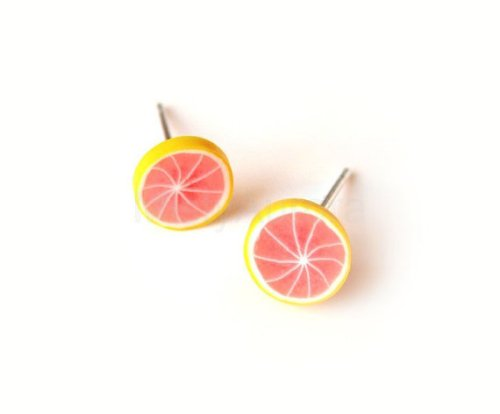 Etsy grapefruit stud earrings