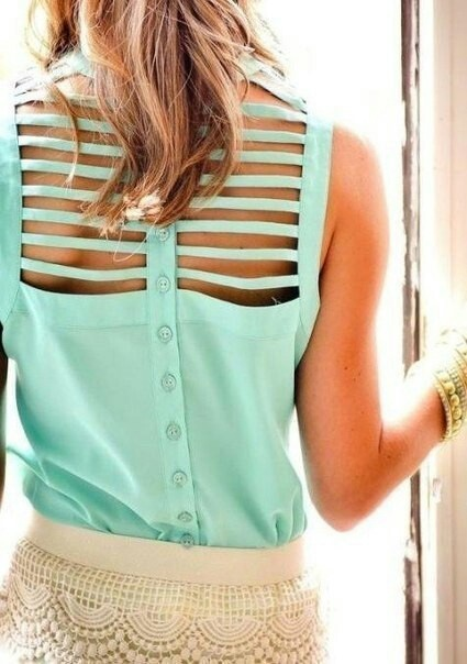 mint green cutout top