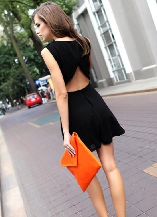 black cutout back dress