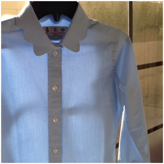 Kiel James Patrick scalloped collar oxford shirt