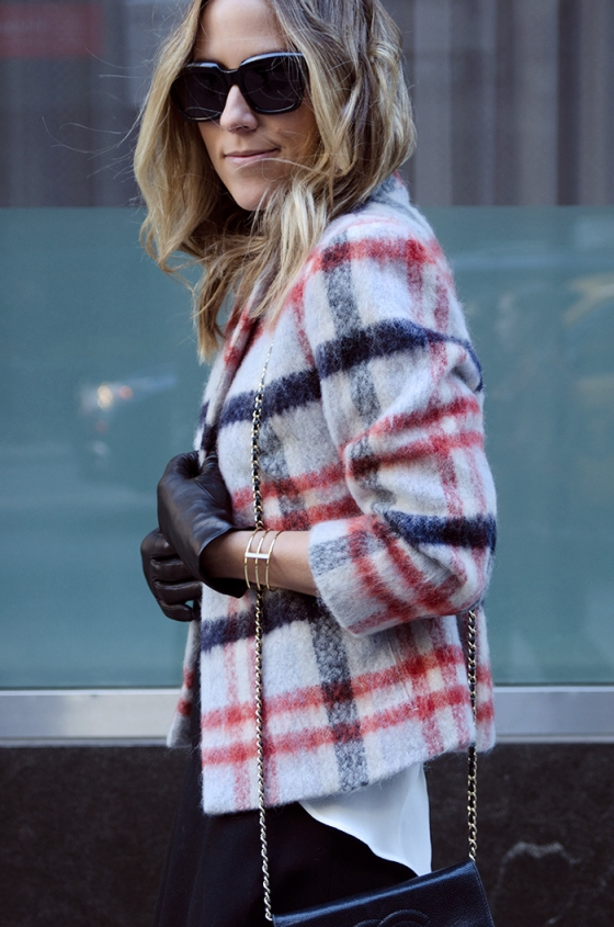 Damsel in Dior plaid coat