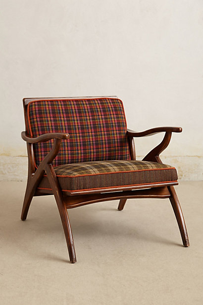Anthropologie plaid chair