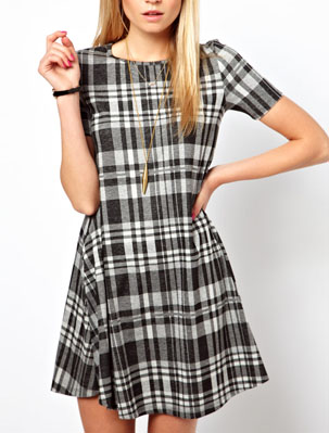 ASOS swing plaid dress