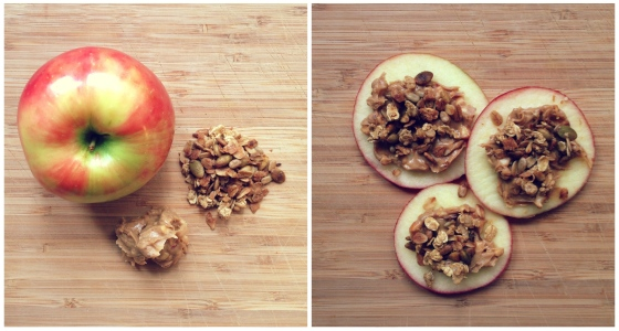 Healthy Snacks - Apple, Almond Butter, Granola