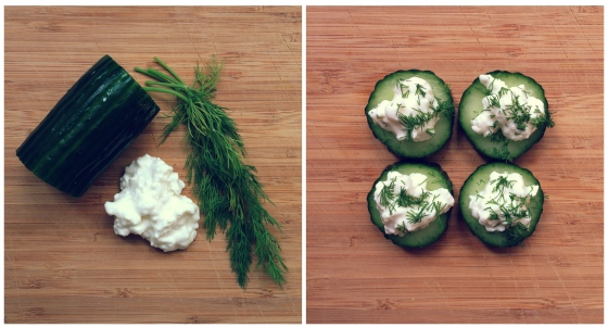 Healthy Snacks - Cucumber, Cottage Cheese, Dill