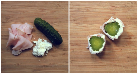 Healthy Snacks - Pickles, Goat Cheese, Turkey
