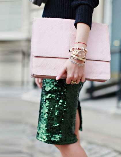 green sequin skirt - Elle UK