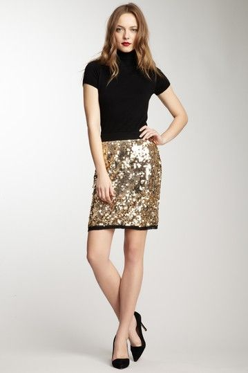 gold sequin skirt - HauteLook