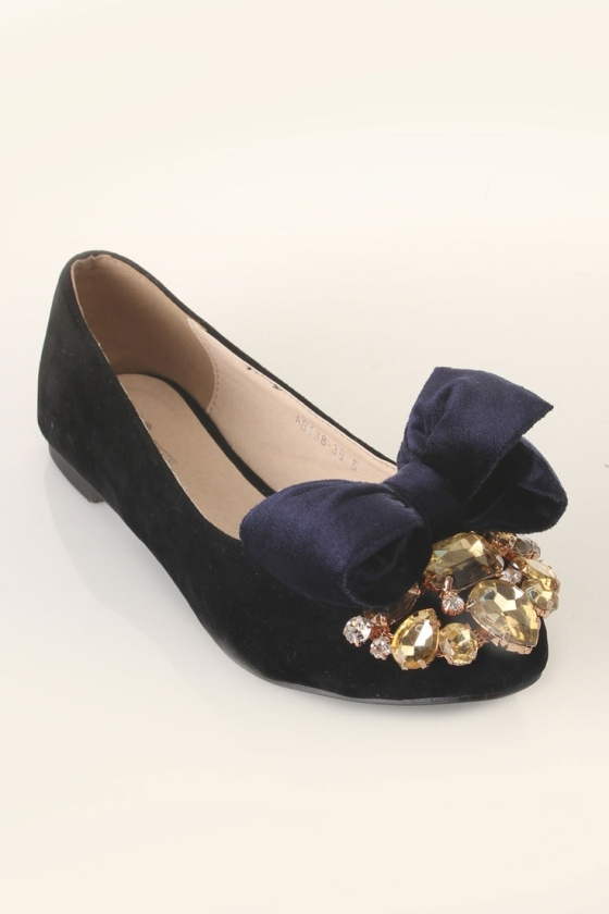 jewel toe bow flats