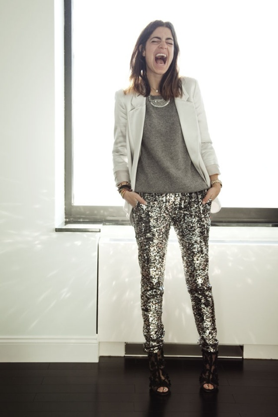 silver sequin pants - Man Repeller