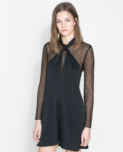 Zara Studio Bow Neck Dress