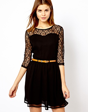 ASOS A Wear Lace Back Belted Dress