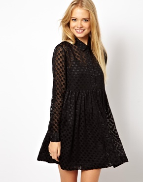 ASOS Smock Dress with Burnout Spot