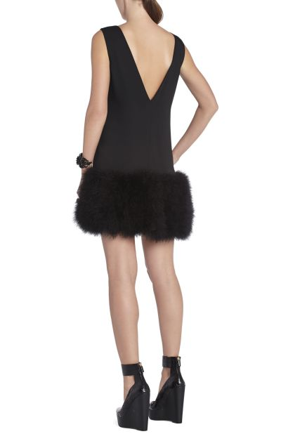 BCBG Jamysen V Neck Feather Hem Dress