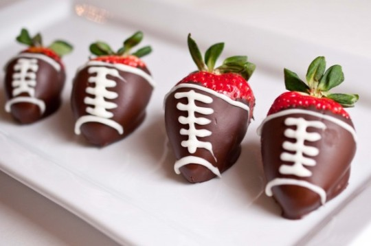 Super Bowl snacks - chocolate covered strawberry footballs