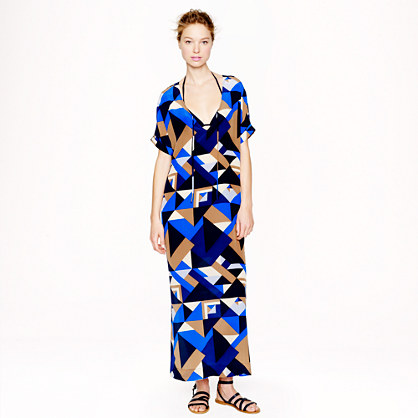 J Crew geometric silk caftan dress