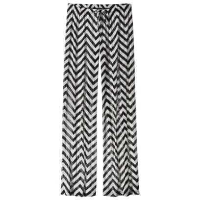 Xhiliration black and white printed mesh swim cover-up pants